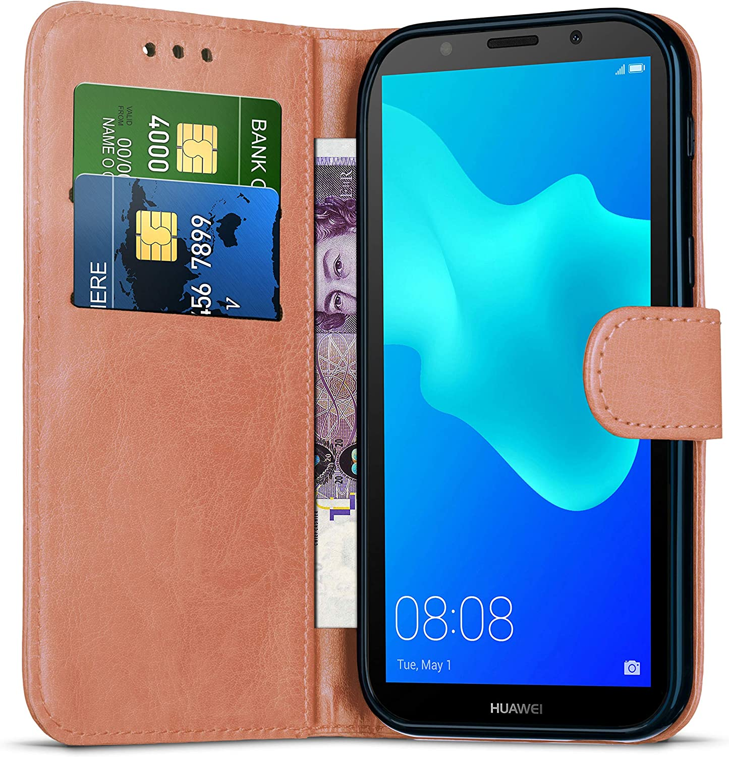 Huawei P30 Lite Wallet Case with Card Holder Leather Flip Notebook Case Cover Stand Magnetic for Phone Huawei P30 Lite // MAR-LX1A // L01A // L21A Kickstand Protective Case Black Shockproof Case