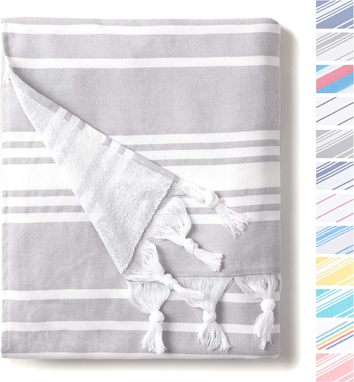 Portable Classic Coastal Peshtemal Woven and Terry Extra Large Hammam/… Oversized Thick Cotton Fouta Aqua Turkish Towel by Laguna Beach Textile Co Lightweight Super Absorbent
