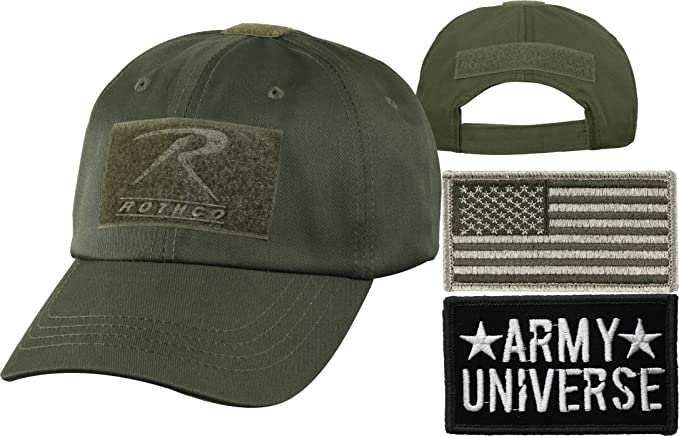 Olive Drab Tactical Operators Cap + Army Universe Black Patch + Foliage  Green REGULAR USA Flag 8e31830b32d