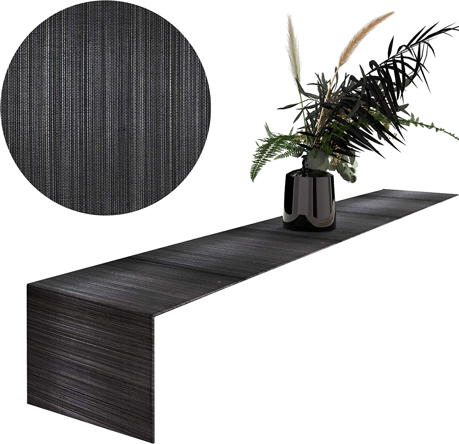 MadeTerra Bamboo Table Runner Rectangular Hand Woven Rustic Farmhouse Table Runner Decorative Table Mat for Dining Room Party Holiday Decoration (1, Black)