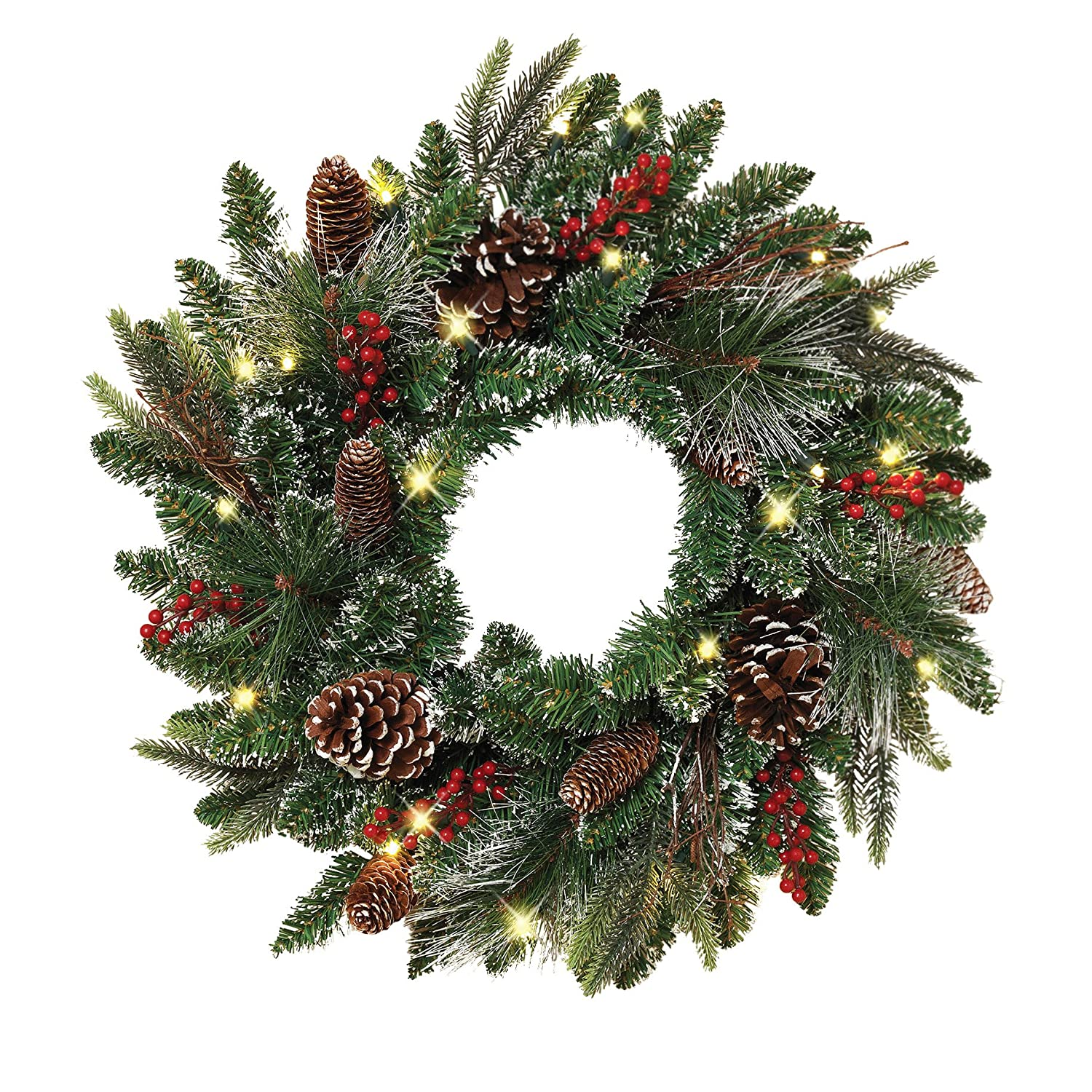 Christmas Pine Cones, Twigs & Red Berries Wreath
