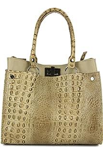 2275c32d57457 Echt Leder Handtasche Ledertasche Damen Shopper Kroko Prägung und Glattleder  31x25x16 cm (