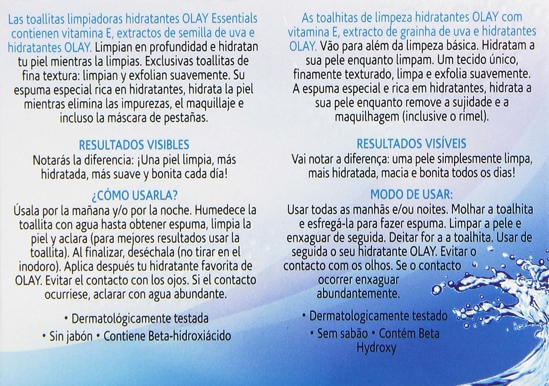 Olay Essentials - Toallitas limpiadoras hidratantes - para piel normal y seca - 28 unidades: Amazon.es: Belleza