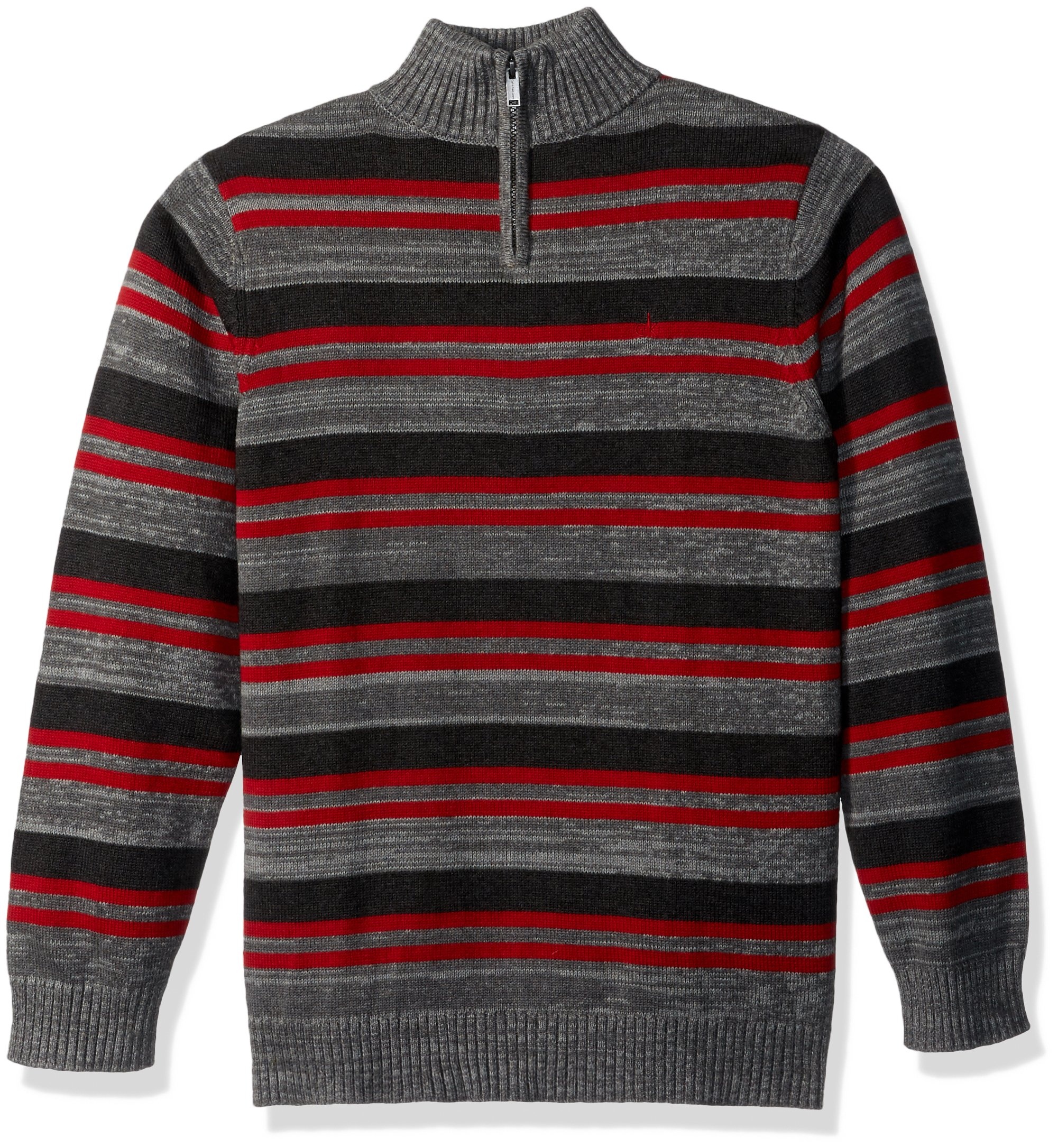 Calvin Klein Big Boys' Halt Stripe Half-Zip Sweater, Dark Charcoal Heather, Small (8)