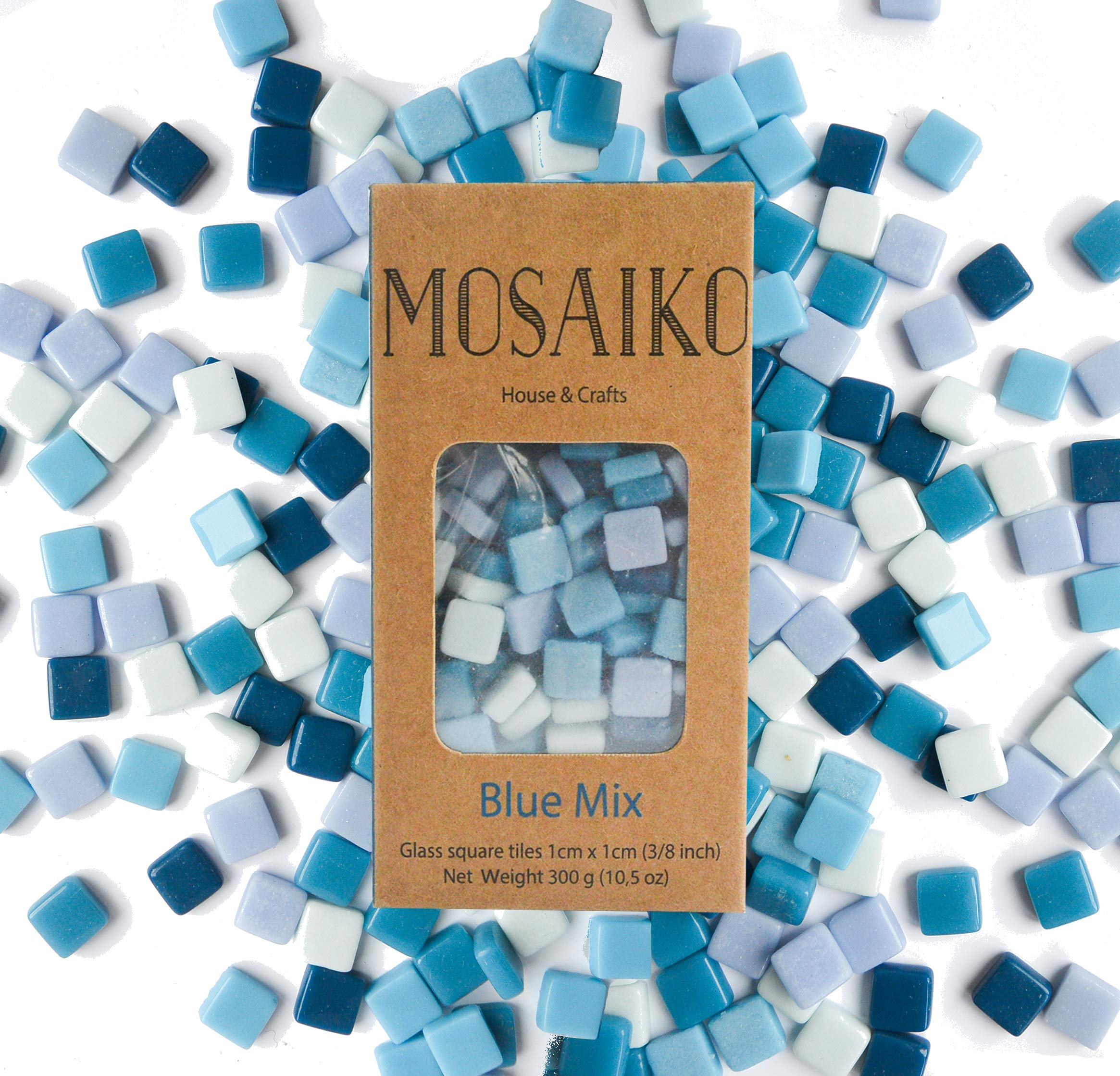 MOSAIKO Blue Mix 300g (10.5oz) - Mosaic Glass Tiles for Crafts - Premium Quality Stained Square Pieces 1cm x 1cm (3/8 inch) - Perfect for Home Decor, DIY Crafts, Pixel Art, Kid Play, Adult Hobbies by Mosaiko