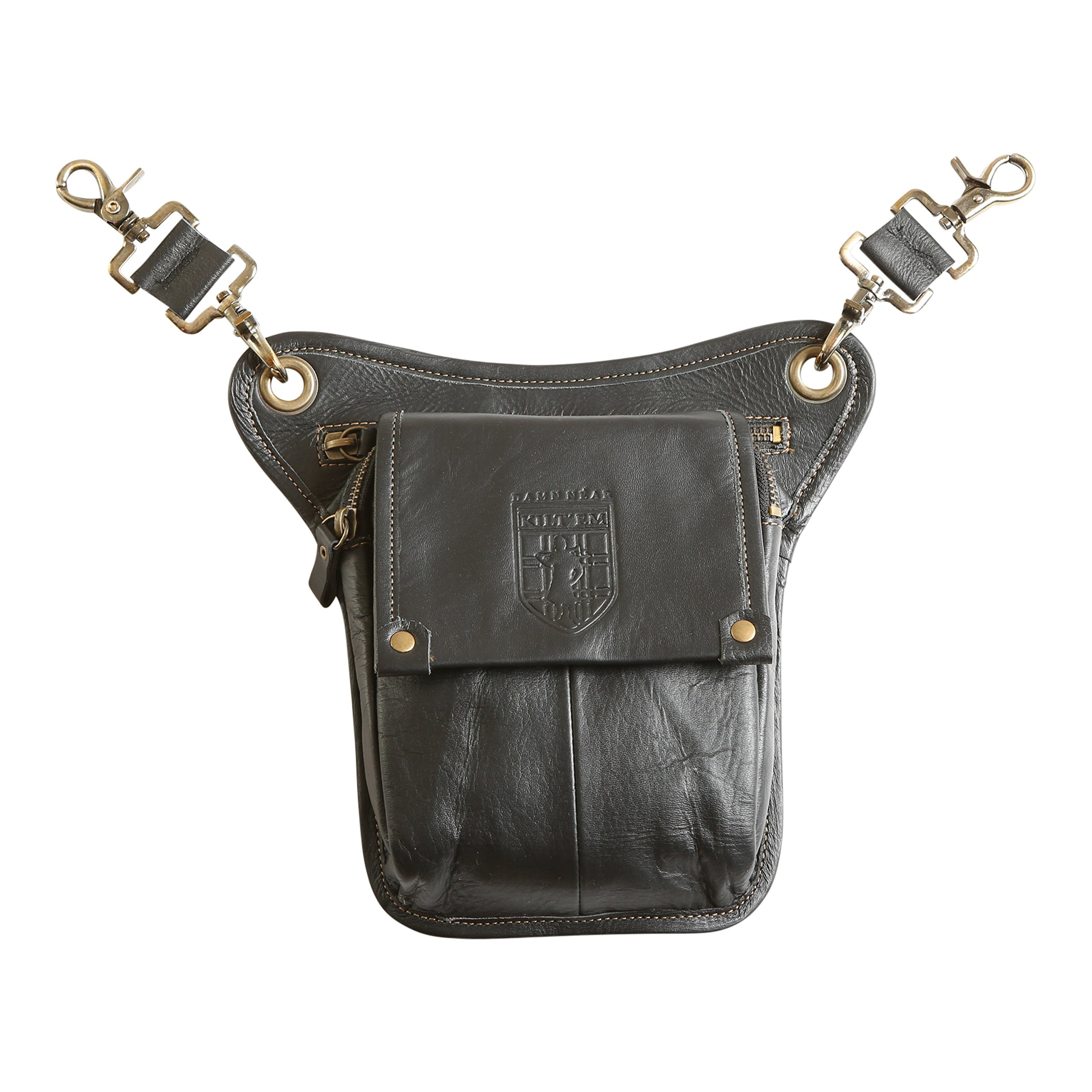 Damn Near Kilt 'Em Premium Black Leather Sporran Kilt Accessory by Damn Near Kilt 'Em