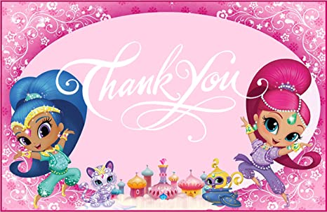 Shimmer And Shine Theme Thank You Tag 10 Pieces For Birthday Party