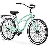 "sixthreezero Around The Block Women's Single-Speed Beach Cruiser Bicycle, 26"" Wheels, Mint Green with Black Seat and Grips, M"