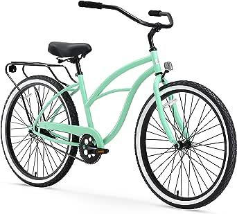 "sixthreezero Around The Block Women's Single-Speed Beach Cruiser Bicycle, 26"" Wheels, Mint Green with Black Seat and Grips, Model:630042"