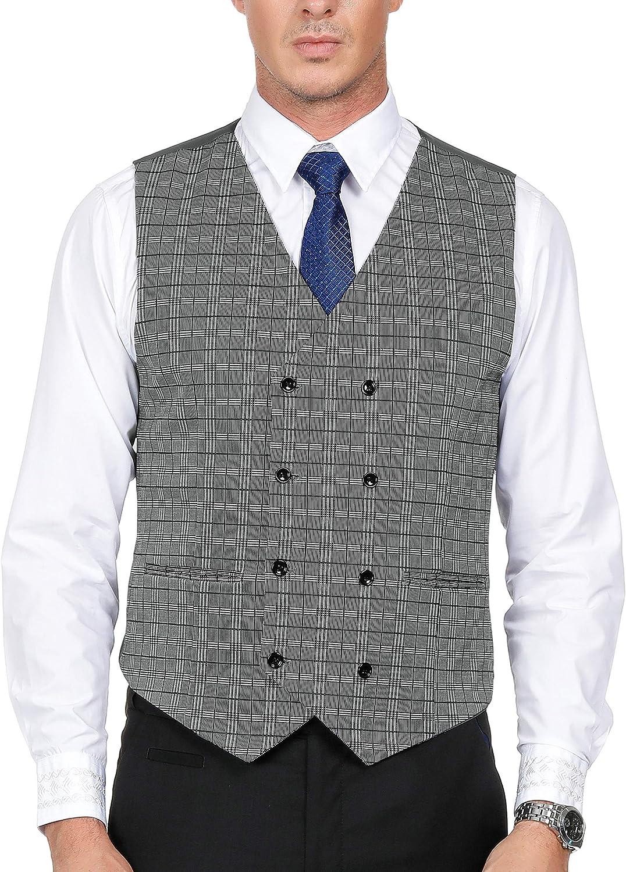 Men's Vintage Vests, Sweater Vests PAUL JONES Mens Plaid Suit Vests Double-Breasted 8 Button Waistcoat $29.99 AT vintagedancer.com