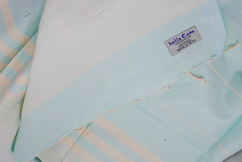 Orange bella casa HERIKE Serviette de Plage en Coton 100 x 180 cm 100 x 180 cm