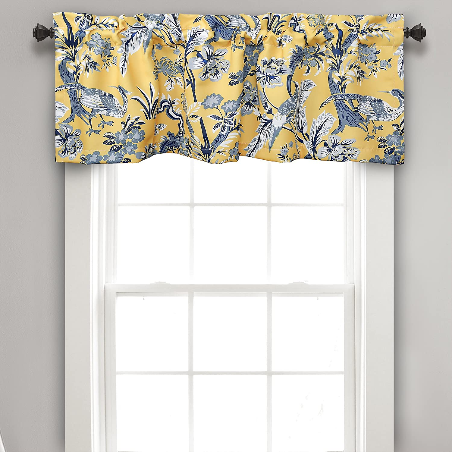 "Lush Decor Dolores Valance Bird Floral Print Single Curtain 18"" x 52"", Yellow and Blue"