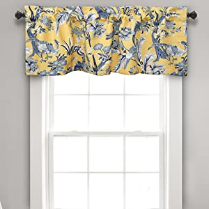 "Lush Decor Dolores Valance Bird Floral Print Single Curtain 18"" x 52"", Yellow and Blue"