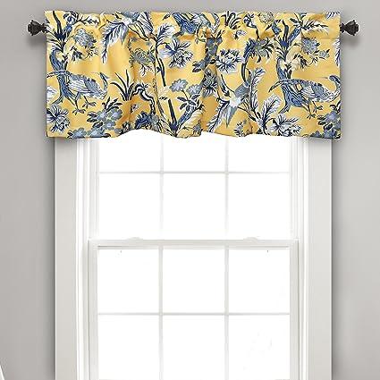 Lush Decor Dolores Room Darkening Window Valance, 18 x 52 + 2 Header, Yellow Curtain Valence