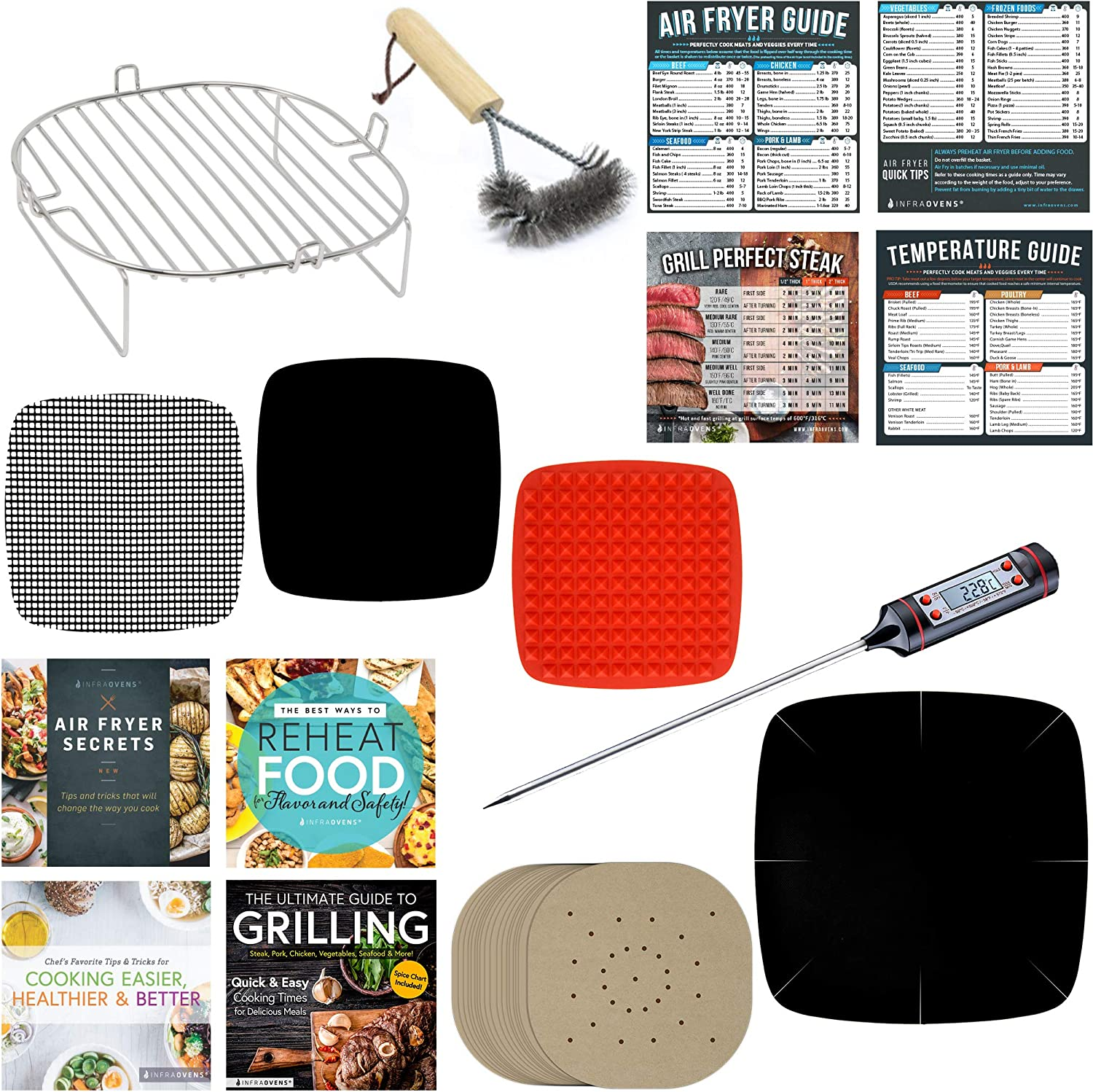 Air Fryer Rack Accessories Compatible Chefman, Cosori, Habor, GoWise, Maxi-Matic, NuWave Brio, Cozyna, CalmDo, BCP, Zokop +More | Paper Liners, Cooking Times Magnetic Cheat Sheets