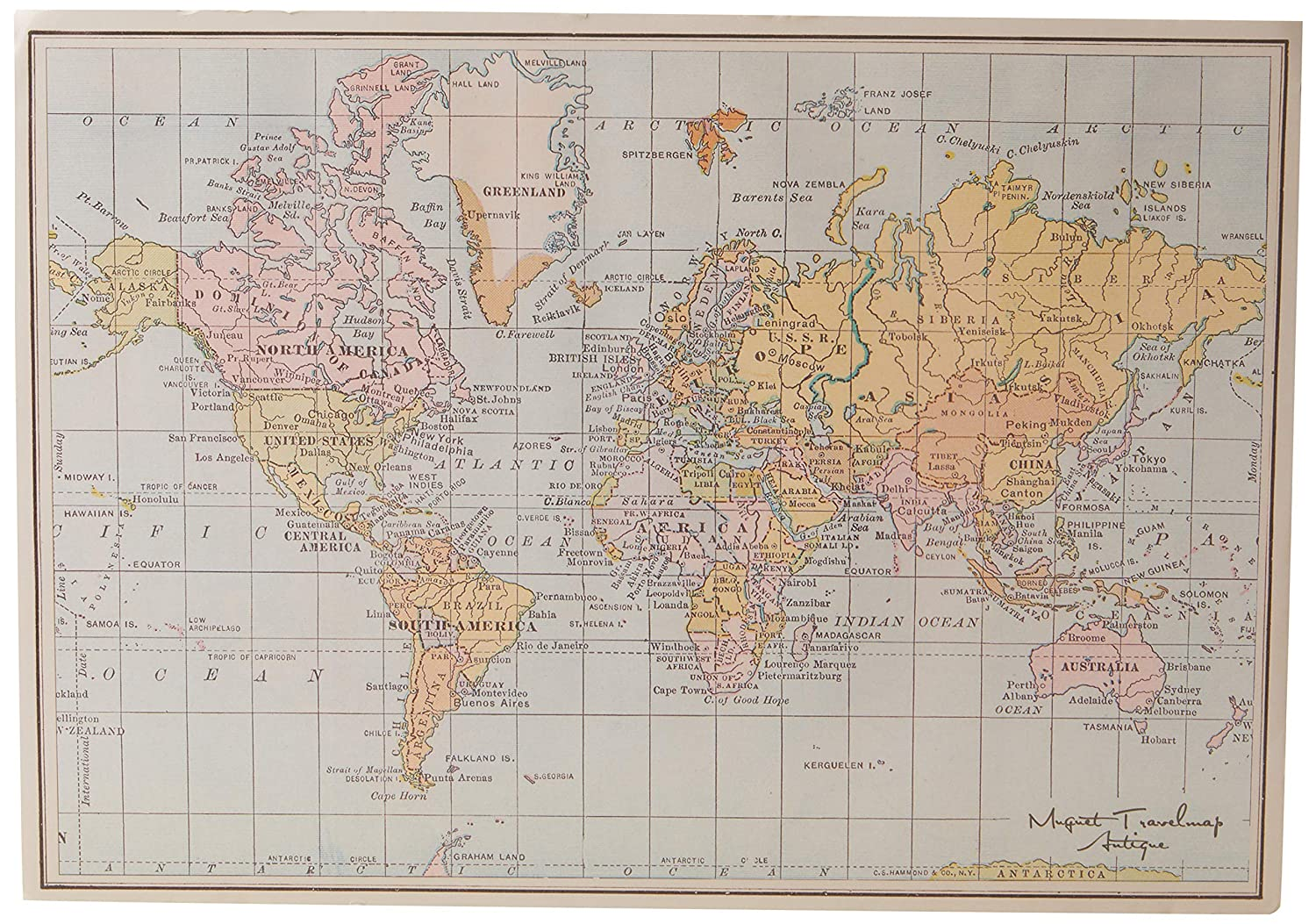 Midway On World Map.Amazon Com Muguetshop 10002 World Map 30 X 40 Cm Pastel