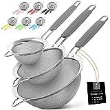 Zulay Kitchen Premium Stainless Steel Fine Mesh Strainer Set - Strainers For Kitchen (Set of 3) With Non-Slip Handles - Inclu