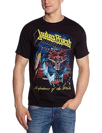 Amazon.com: Judas Priest T Shirt Defenders Of Faith Distressed Logo Official Mens Black: Clothing