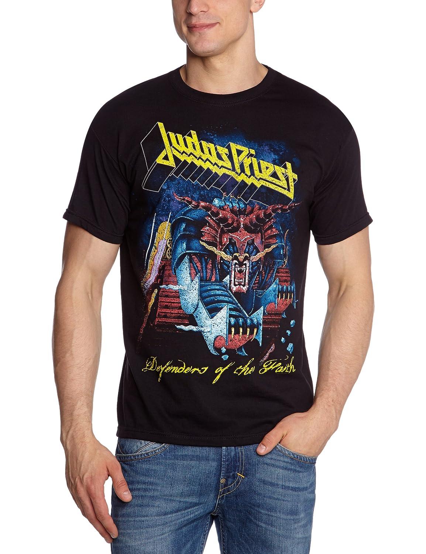 Judas Priest ジューダスプリースト Defenders Of Faith Distressed 公式 メンズ ブラック 黒 Tシャツ B006A94UX8  ブラック S