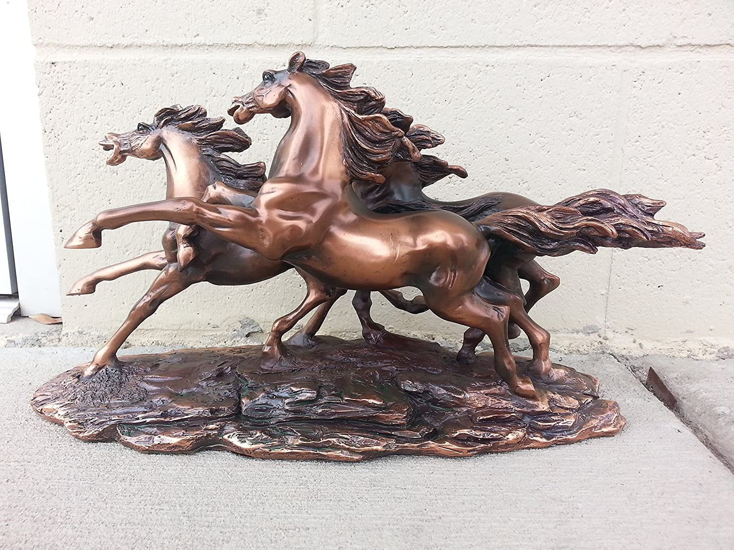 "Treasure of Nature Bronze Finished Resin Sculpture 3 Running Horses 14"" W X 7.5"" H"