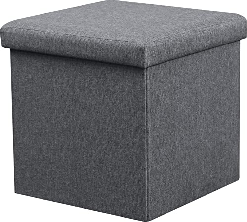 LOKATSE HOME 15″ Folding Storage Ottoman Cube Small Coffee Table Footrest Stool Seat Toy Box