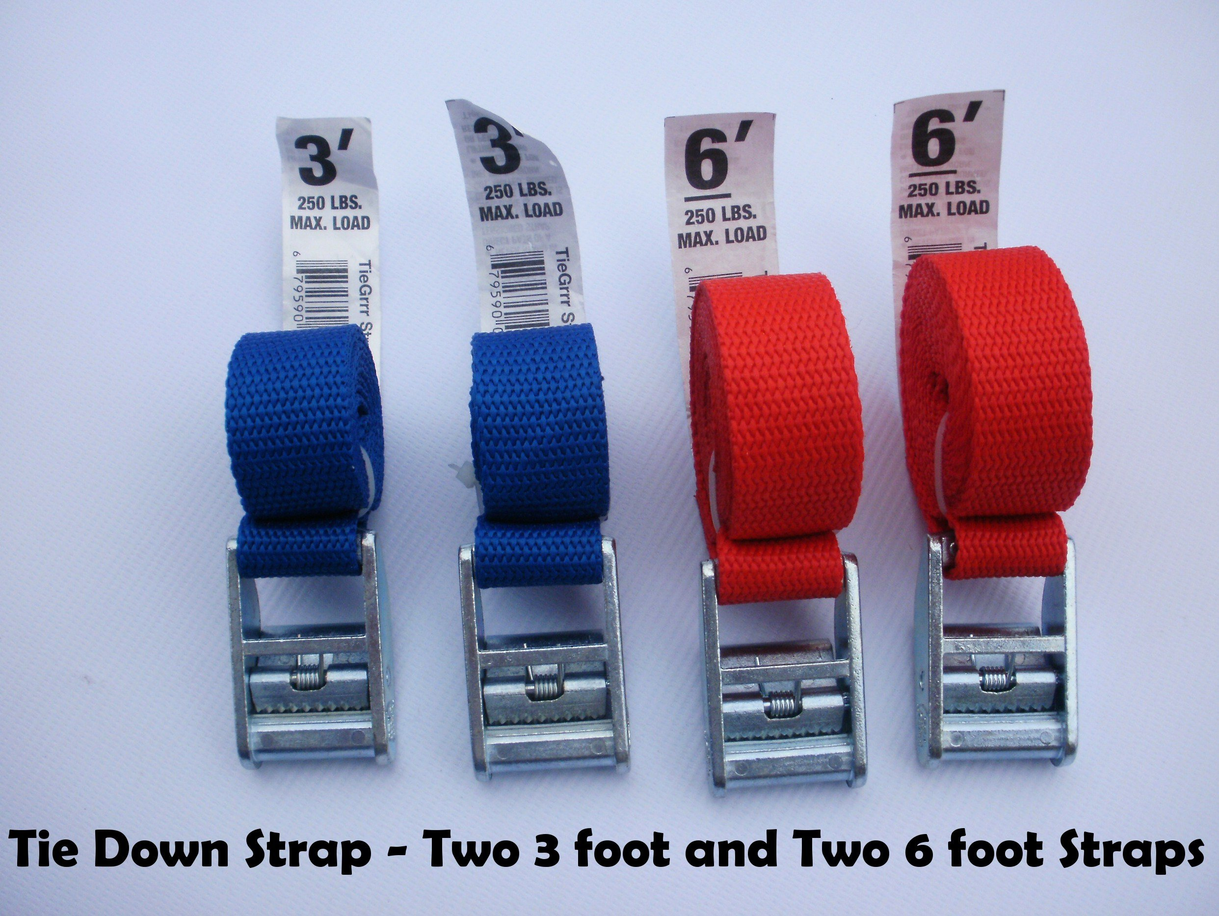 Tie Down and Cargo Straps –Two 3' & Two 6' Straps