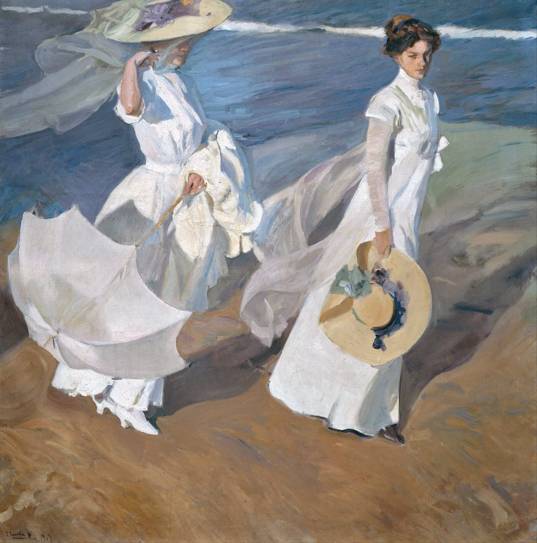 ODSAN Strolling Along The Seashore - Joaquín Sorolla - Impresión en Lienzo 20x20 Pulgadas - sin Marco
