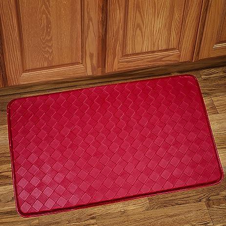 Sweet Home Collection Memory Foam Anti Fatigue Kitchen Floor Mat Rug,  Diamond Red, 30u0026quot