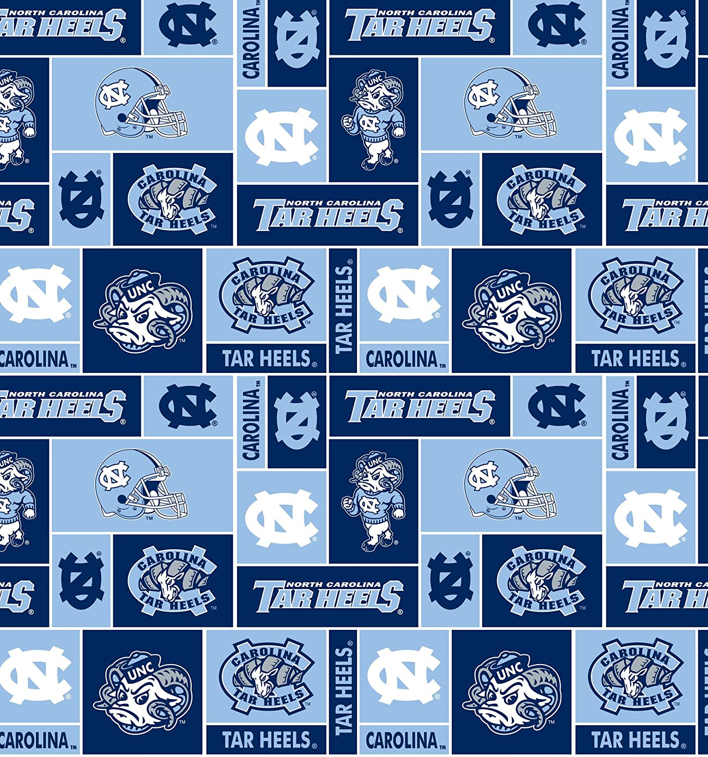 NCAA University of North Carolina Tarheels Toss Cotton Fabric By the Yard