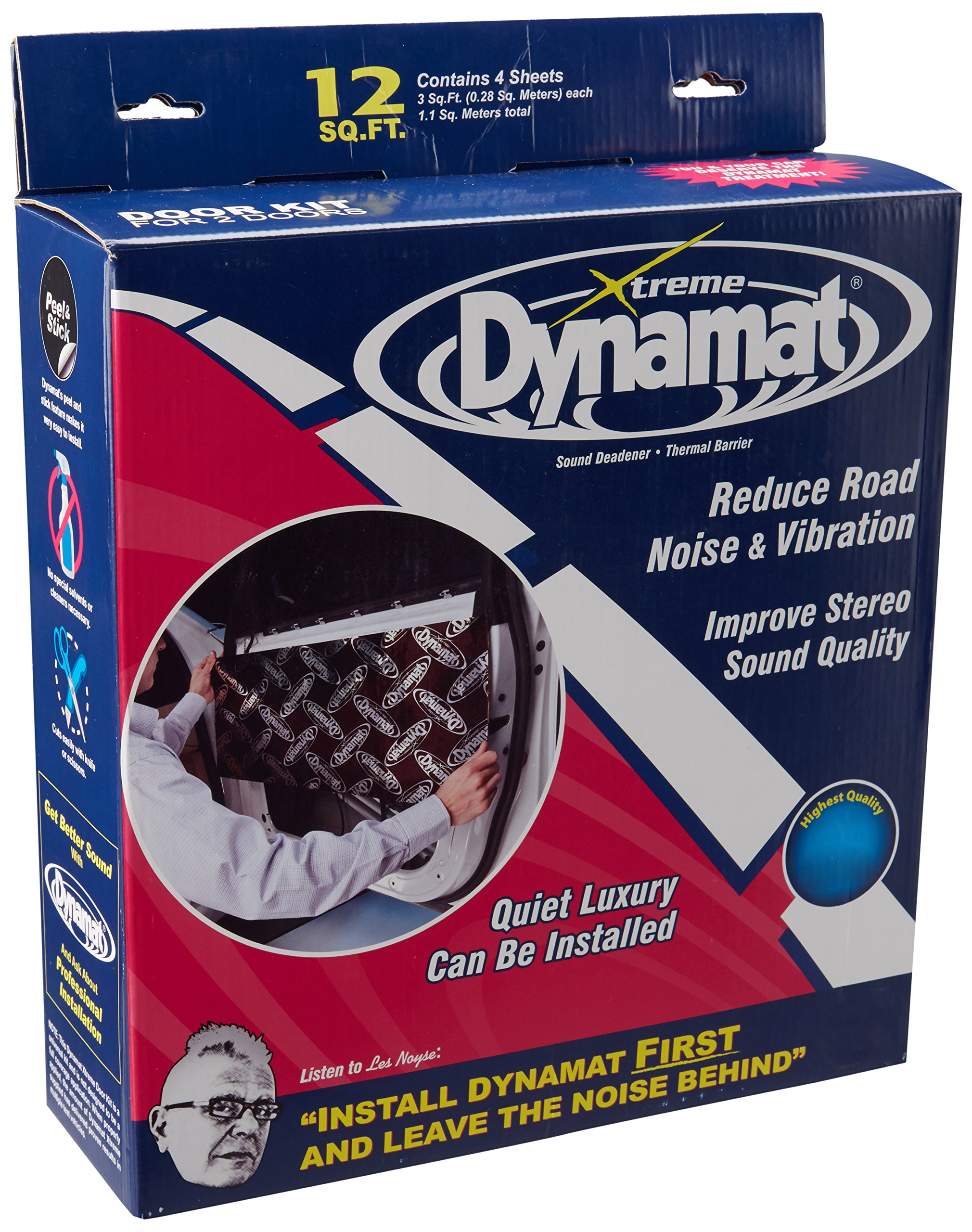 Dynamat 10435 12'' x 36'' x 0.067'' Thick Self-Adhesive Sound Deadener with Xtreme Door Kit
