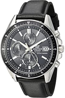 Casio Mens Edifice Stainless Steel Quartz Watch with Resin Strap, Black, 21.35 (Model