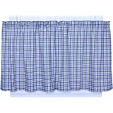 Ellis Curtain Bristol Collection Two-Tone Plaid 68 by 30-Inch Tailored Tier Curtains, Blue