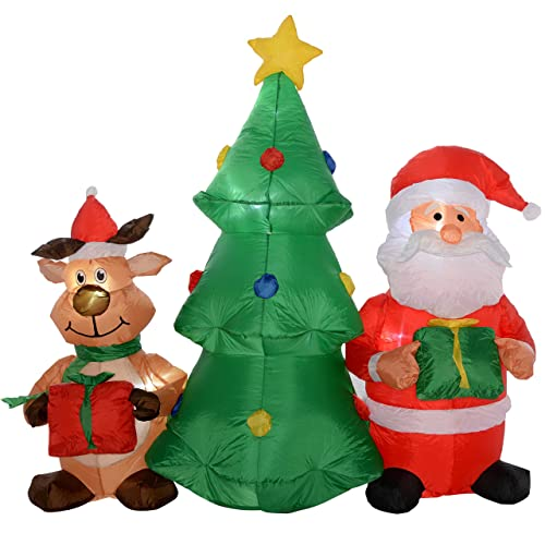 werchristmas pre lit christmas tree santa and bear inflatable with led lights and fan - Amazon Uk Outdoor Christmas Decorations