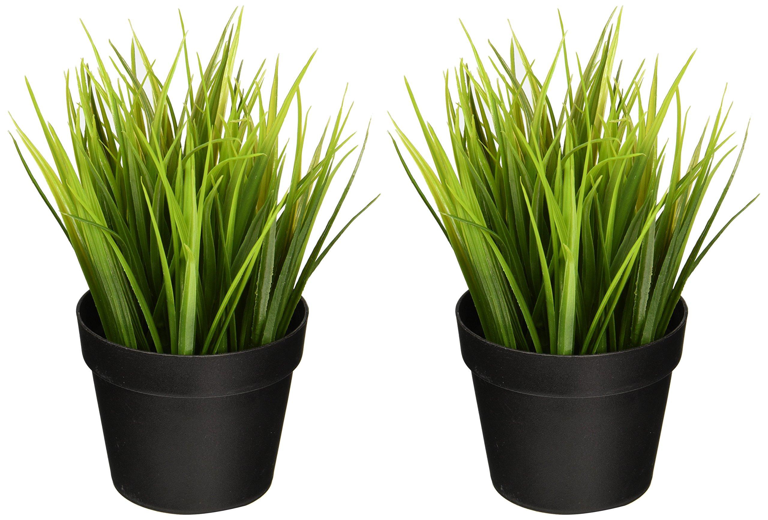 Ikea Artificial Potted Plant Wheat Grass 9'' Lifelike Nature Houseplant Decoration Fejka (SET OF 2) by Ikea Artificial Potted Plant