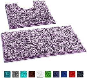 LuxUrux Bathroom Rugs Luxury Chenille 2-Piece Bath Mat Set, Soft Plush Anti-Slip Shower Rug +Toilet Mat.1'' Microfiber Shaggy Carpet, Super Absorbent Machine Washable Bath Mats (Curved Set, Lavender)