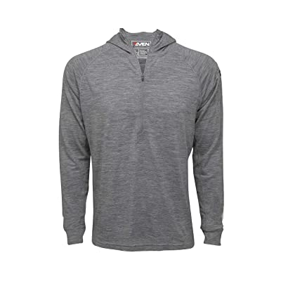 7EVEN Clothing Men's Merino Wool Hoodie - Mid-Weight 230 GSM - Wicking Breathable Anti-Odor - Half Zip - Small Grey at Amazon Men's Clothing store