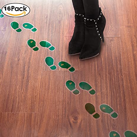 Charming Leprechaun Foot Print Floor Decal Clings (8 Pairs) Floor Stickers For St.  Patricku0027s