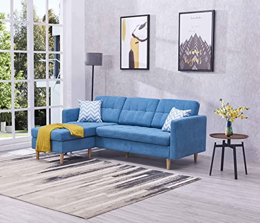 EiioX Linen Fabric Sectional Sofa L-Shape Couch, Mid-Century Modern Chaise  Lounge for Living Room, 59.4\