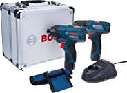 Combo 12V Furadeira GSR 120-LI + Parafusadeira de Impacto GDR 120-LI + Maleta de Alumínio, Bosch 06019F00E4-000, Azul