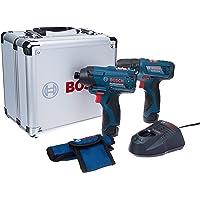 Combo 12V Parafusadeira / Furadeira GSR 120-LI + Parafusadeira de Impacto GDR 120-LI + Maleta de Alumínio, Bosch 06019F00E4-000, Azul