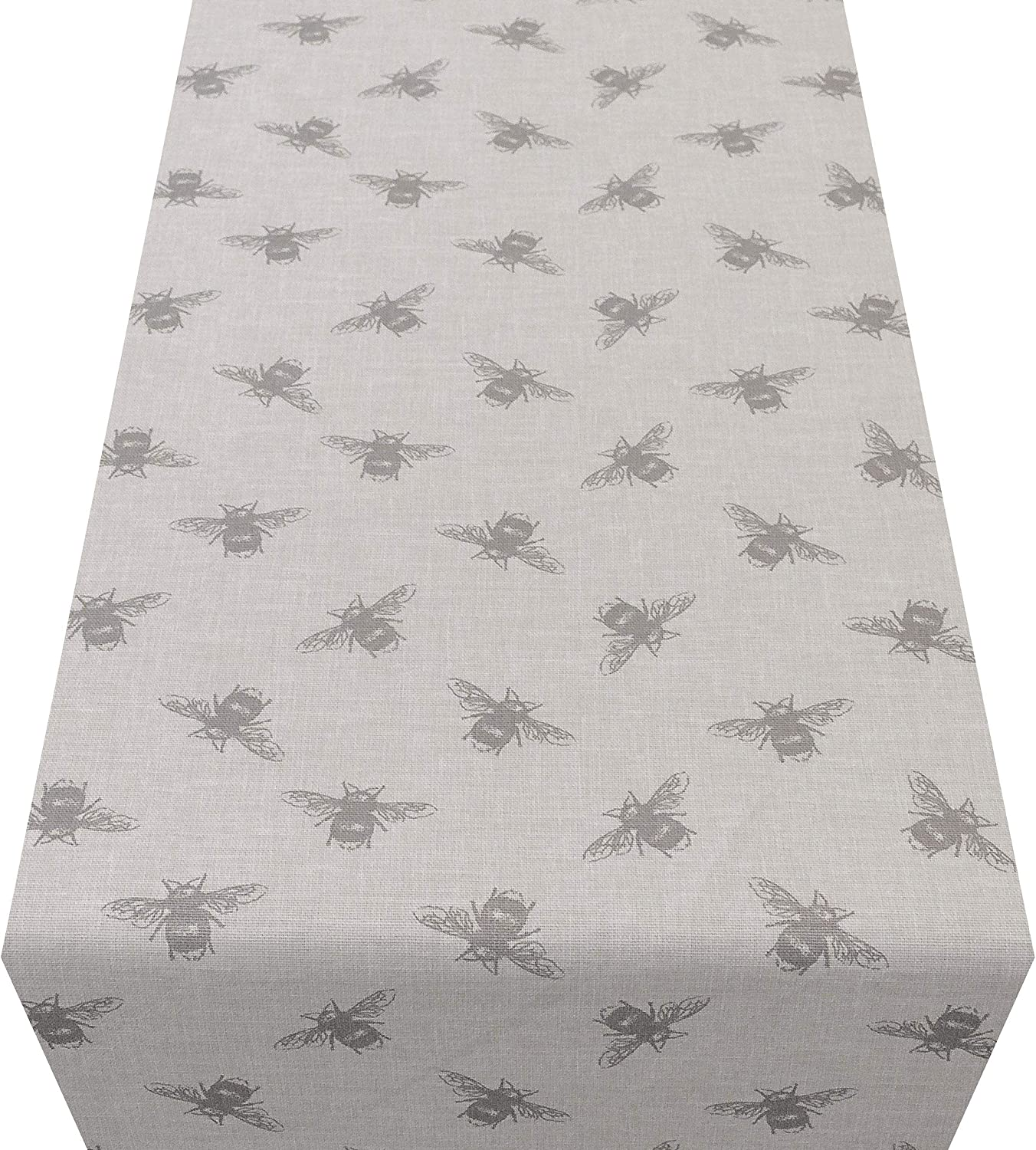 100/% Cotton Grey Bumblebee Table Runner Available in Two Sizes. Linen Style Vintage Bee Table Party Decoration 30cm x 180cm