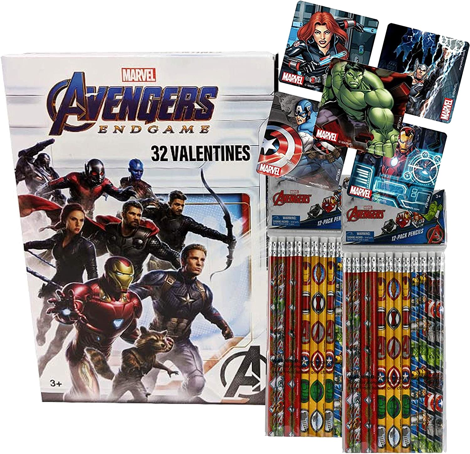 Box of 16 Marvel  The Avengers with Notepads Valentines Day Cards