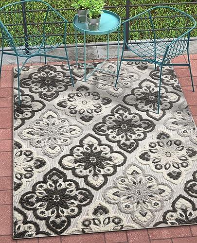 Well Woven Dorado Devotion Grey Modern Floral 7 10 x 9 10 High-Low Indoor Outdoor Area Rug