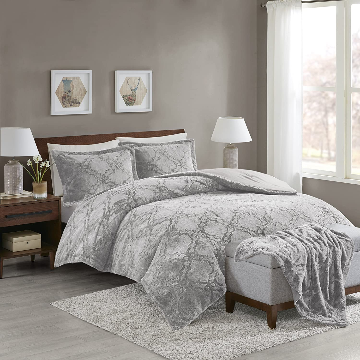 Comfort Spaces Odessa Long Fur Set + Cozy Combo-4 Piece-Snugly Warm and Ultra Soft-Includes 1 Comforter, 2 Shams, 1 Throw-Blanket, Full/Queen, Grey