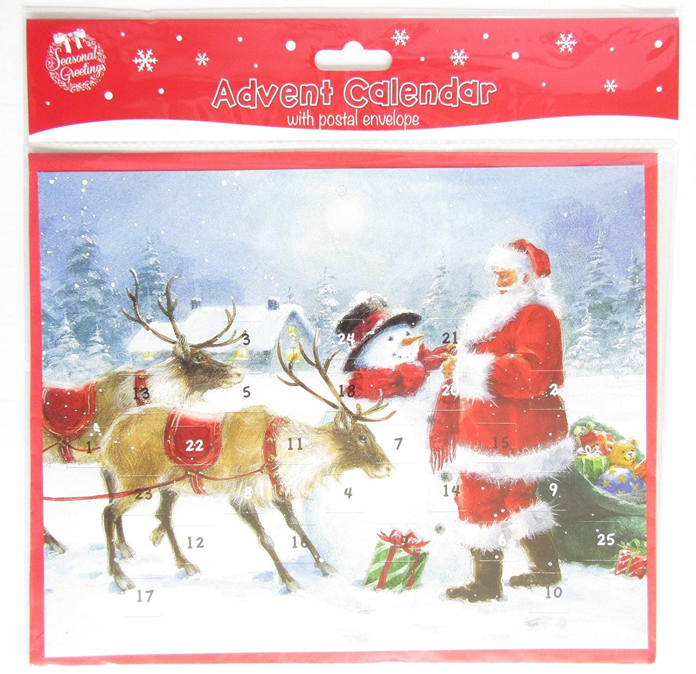 Traditional Christmas Advent Calendar 24 Windows to Open - Santa with Snowman Tallon Int Ltd