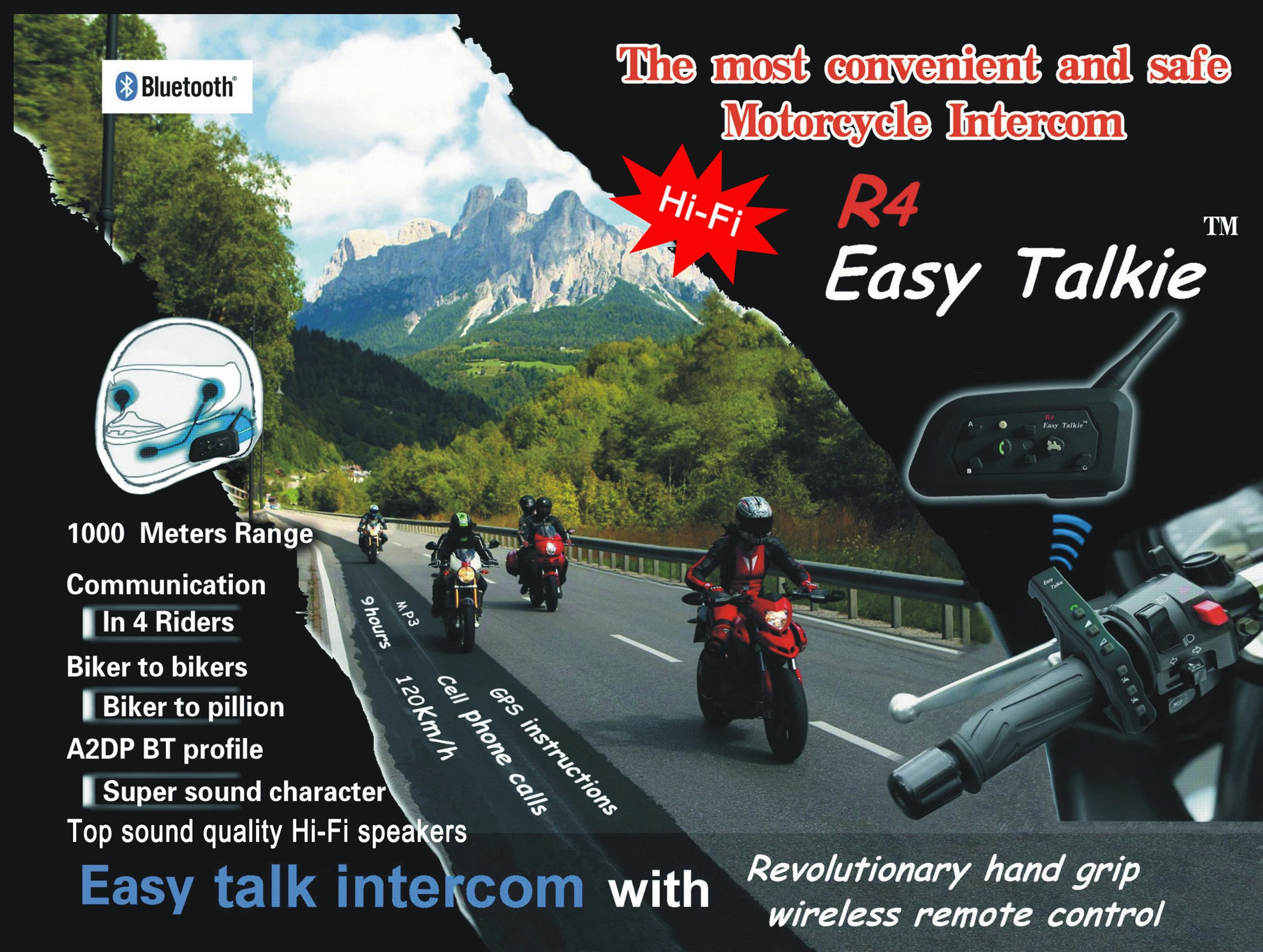 YUENY MOTO R4 Easy Talkie BT Interphone Bluetooth Intercom Bluetooth Motorbike Motorcycle Helmet Communication Intercom Headset System with Remote Control