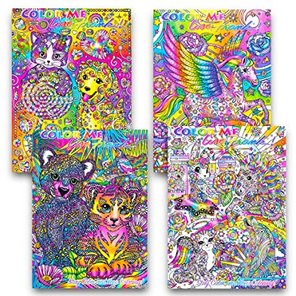 Amazon Com Lisa Frank Adult Coloring Book Set 4 Premium Lisa