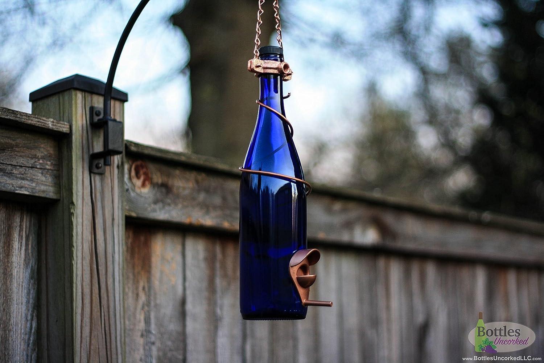 Glass Wine Bottle Bird Feeder - Bird Houses - Gift for Mom - Outdoor - Patio - Handmade Wine Bottle Decor - Gifts for Women - Spring Decor