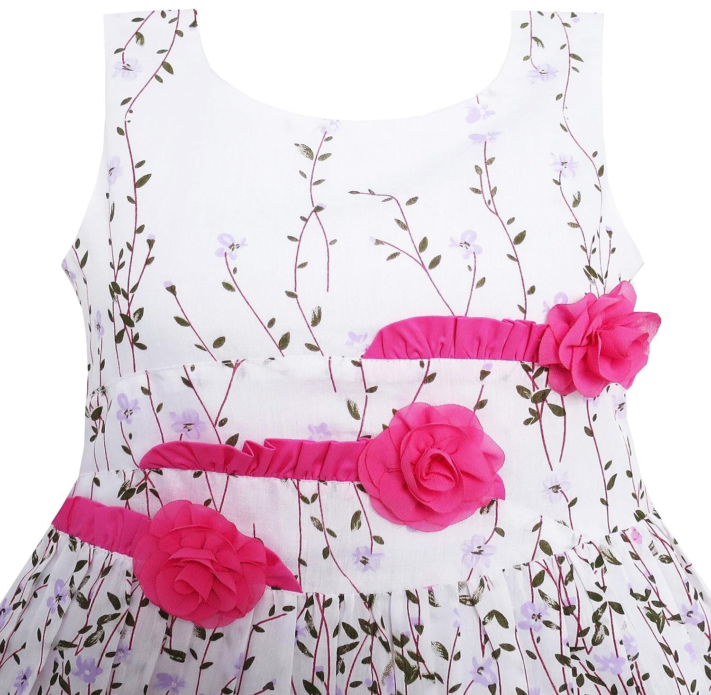 Sunny Fashion Rosa Vestido para niña para 3 Rosa Flor 15946 Hojas ...