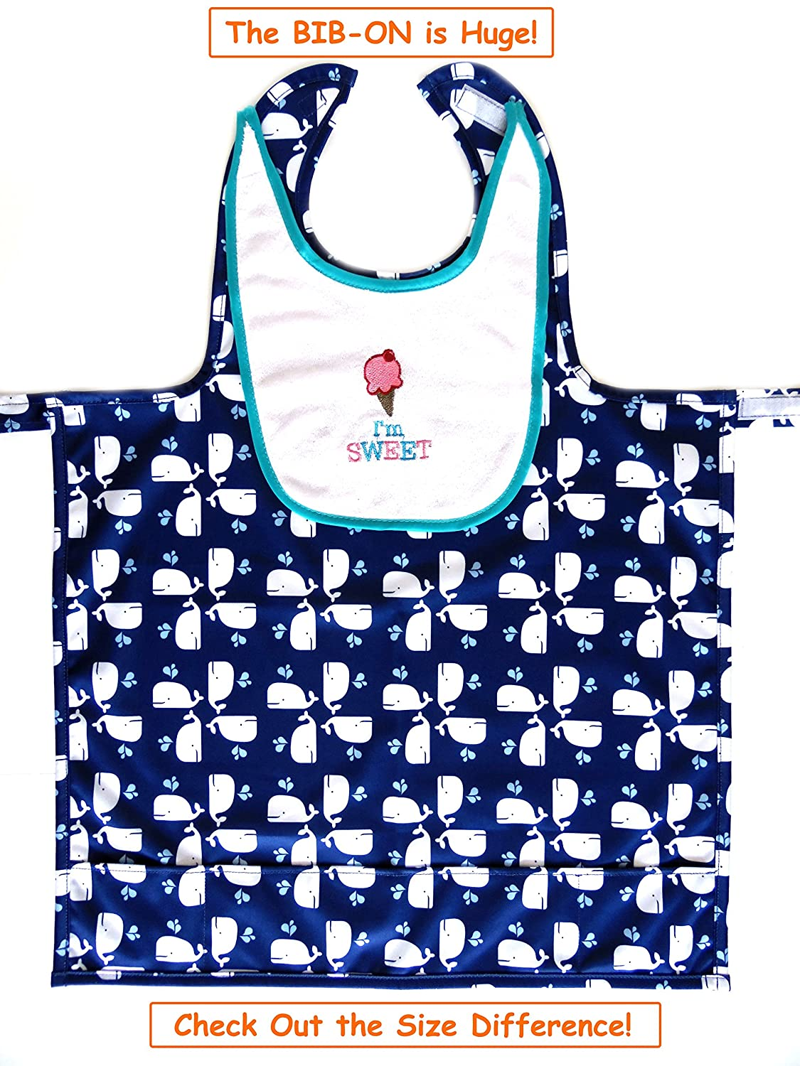 One Size Fits All! BIB-ON A New Toddler Ages 0-4+ Baby Full-Coverage Bib and Apron Combination for Infant